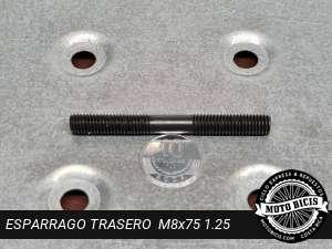 ESPARRAGO TRASERO  GRUESO M8x75 1.25 para bicimoto